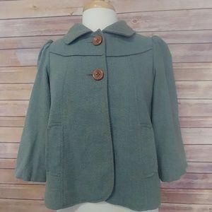 Anthopologie Lux 2 button green jacket medium